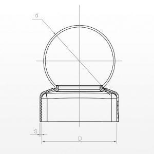 Metalinis kamštelis su rutuliu (apvalus pagrindas)