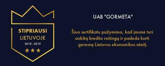 "UAB Gormeta - ""Stipriausi Lietuvoje"" 2018-2019"